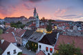 Cesky kromlov czech republic image of krumlov located in southern during sunset Royalty Free Stock Photos