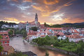 Cesky kromlov czech republic image of krumlov located in southern during sunset Stock Photography