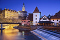 Cesky kromlov czech republic image of krumlov located in southern at twilight Royalty Free Stock Photo