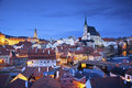 Cesky kromlov czech republic image of krumlov located in southern at twilight Stock Images