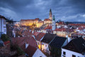 Cesky kromlov czech republic image of krumlov located in southern at twilight Stock Photography