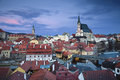 Cesky kromlov czech republic image of krumlov located in southern at twilight Royalty Free Stock Photography