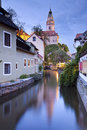 Cesky kromlov czech republic image of old town krumlov at twilight Stock Photography