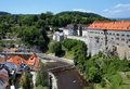 Cesky Krumlov Castle, Old Town and Vltava river Royalty Free Stock Image