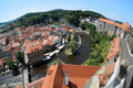 Cesky Krumlov Castle, Old Town and Vltava river Stock Images