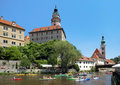 Cesky Krumlov Castle and rafting on Vltava river Royalty Free Stock Photography