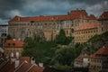 Cesky Krumlov castle under summer storm Royalty Free Stock Photo