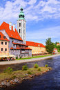 Cesky krumlov church along the river in czech republic Royalty Free Stock Photos