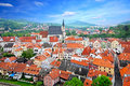 Cesky krumlov czech republic aerial view of Royalty Free Stock Image