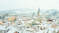 Cesky krumlov czech republic the town from the castle in a beautiful winter day Royalty Free Stock Image