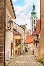 Cesky krumlov krumau czech republic lovely little alleyway Stock Photos
