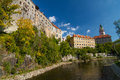 Cesky krumlov the perspective view of the small town in the south of czech republic Stock Images