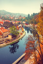 Cesky Krumlov river Vltava autumn Royalty Free Stock Photo