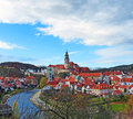 Cesky krumlov in spring a clear blue sky over the city of Royalty Free Stock Image