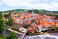 Cesky krumlov view aerial over the old town of czech republic Royalty Free Stock Photos