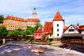 Cesky krumlov view of medieval with castle czech republic Stock Image