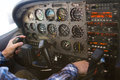 Cessna 172 Cockpit Airplane Flight Instrument Panel with Pilot Royalty Free Stock Photo