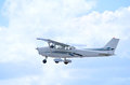 Cessna plane in flight Royalty Free Stock Photo