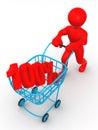Cesta del consumidor con el 100 por ciento Foto de archivo libre de regalías