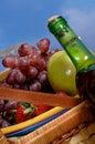 Cestino di picnic con frutta Immagini Stock