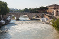 Cestius bridge pons italian ponte cestio is a roman stone in rome italy spanning the tiber to the west of the tiber island Stock Photos