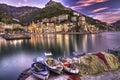 Cetara fishing village Amalfi coast   watery reflections Royalty Free Stock Photo