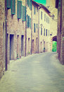 Cetona narrow alley in the italian city of instagram effect Royalty Free Stock Photos