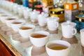 Ceylon tea tasting cups, tourist excursion Royalty Free Stock Photo