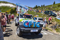 Cftc car in pyrenees mountains port de pailheres france july the french confederation of christian workers during the passing of Royalty Free Stock Images