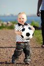 Chłopiec sztuka piłka nożna Zdjęcia Royalty Free