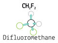 CH2F2 difluoromethane molecule Royalty Free Stock Photo