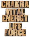 Chackra vital energy life force chakra and a collage of isolated text in letterpress wood type printing blocks Stock Photo