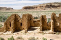 Chaco canyon s kin kletso pueblo ruins at seen from the cliffside trail Royalty Free Stock Image