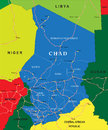 Chad map highly detailed vector of with administrative regions main cities and roads Stock Image