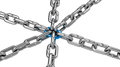 Chain with blue central link, Royalty Free Stock Photo