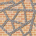 Chain on brick wall seamless background Royalty Free Stock Photo