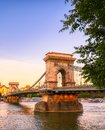 Chain Bridge across the Danube River in Budapest, Hungary Royalty Free Stock Photo