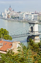 Chain bridge at budapest hungary across the danube river Royalty Free Stock Images