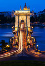 Chain bridge Budapest, Hungary at night Royalty Free Stock Photo