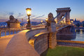 Chain bridge budapest image of in during sunrise Stock Images