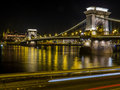Chain Bridge by night, Budapest Royalty Free Stock Photo
