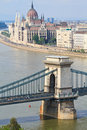 Chain Bridge and Hungarian Parliament Stock Photos