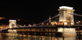 Chain Bridge by night in Budapest Royalty Free Stock Photo