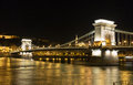 Chain Bridge at night in Budapest. Royalty Free Stock Photo