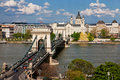 Chain Bridge over the Danube - Budapest Stock Photo