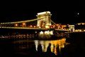 Chain Bridge over Danube river at night, Budapest, Hungary Royalty Free Stock Photo