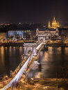 Chain Bridge and St. Stephen's Basilica in Budapest, Hungary at Royalty Free Stock Photo