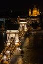 Chain Bridge and St. Stephen's Basilica at night, Budapest Royalty Free Stock Photo