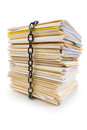 Chain and file stack concept of confidential document Royalty Free Stock Photos