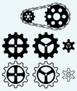 Chain gears and set cogs isolated on blue background Royalty Free Stock Photography